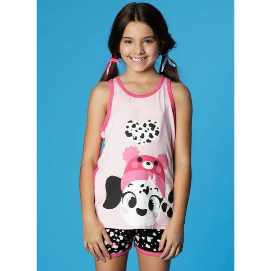 6276b6031a767d Pijama Infantil Puket Curto Regata Nadador Visco Dálmatas Feminina - Rosa e  Preto