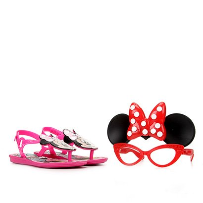 Sandália Rasteira Infantil Disney Grendene Kids Minnie Hit Com Óculos