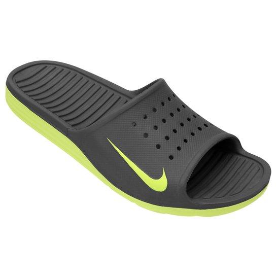 876dac96b1 Chinelo Nike Solarsoft Slide - Chumbo+Verde Limão