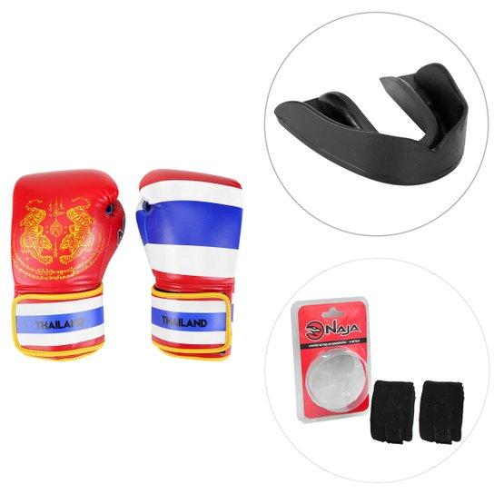 632a5b51a Kit Luva de Boxe   Muay Thai Naja Tailândia 10 Oz + Protetor Bucal +  Bandagem