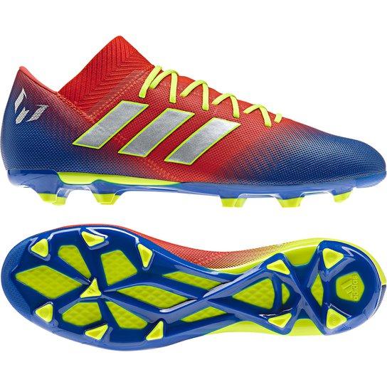 2a66b4542bcc Chuteira Campo Adidas Nemeziz Messi 18 3 FG - Vermelho e Azul ...
