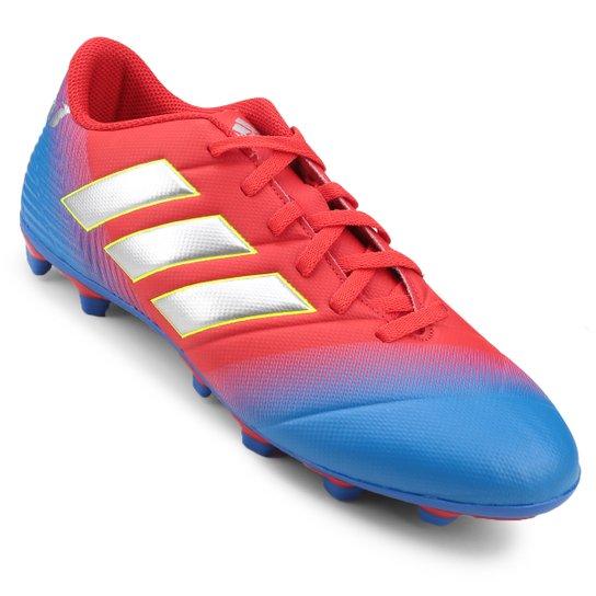 8fa2324b08 Chuteira Campo Adidas Nemeziz Messi 18 4 FG - Vermelho e Azul