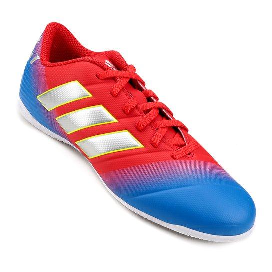 1015a5a9377d3 Chuteira Futsal Adidas Nemeziz Messi 18 4 IN - Vermelho e Azul ...