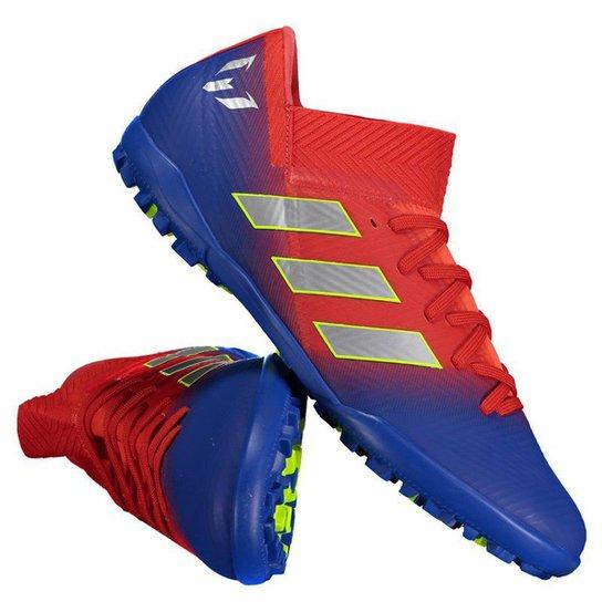 bf1bc97bd0 Chuteira Society Adidas Nemeziz Messi 18 3 TF - Vermelho e Azul ...