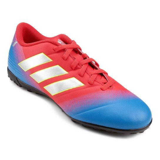 54e3410952f Chuteira Society Adidas Nemeziz Messi 18 4 TF - Vermelho e Azul ...