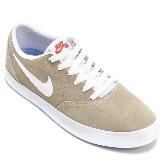 92d8ce9cdab6a1  Tênis Nike Sb Check Solar Masculino - Bege e Branco - Compre  Agora . cb9f4866101bd