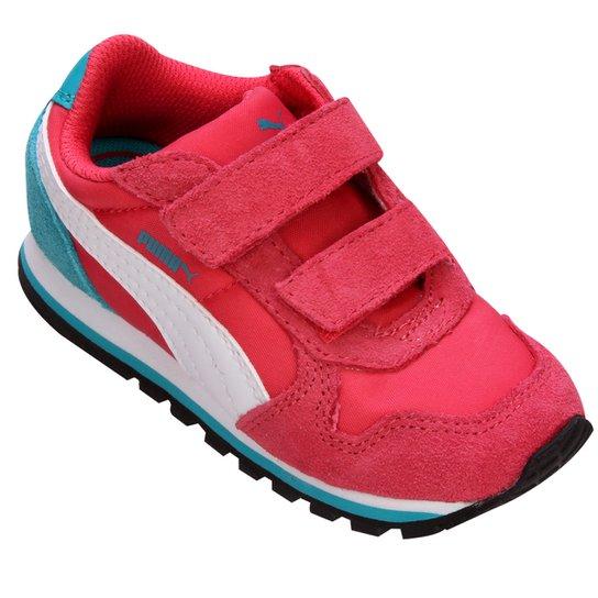 d8f71f9e4de Tênis Puma Runner NL 5 Infantil - Rosa Escuro+Azul Claro