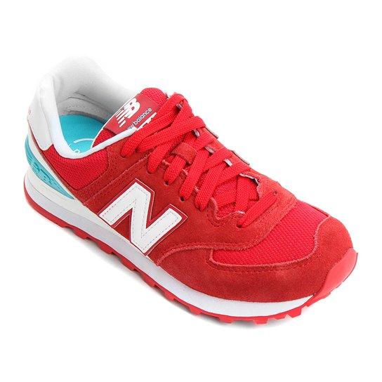 34dab121d38 Tênis New Balance 574 Feminino - Vermelho e Azul - Compre Agora ...