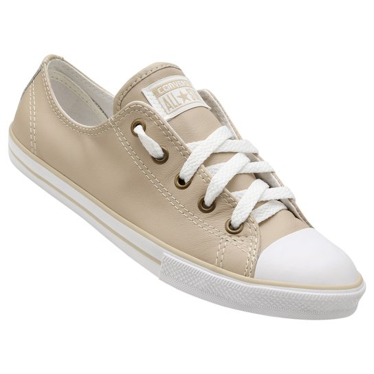 0c5cce5bfe Tênis Couro Converse All Star Ct As Dainty Leather Ox Feminino - Bege+Branco