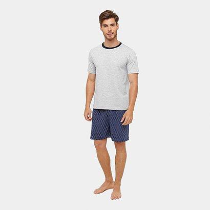 Pijama Lupo Curto Estampado Algodão Masculino