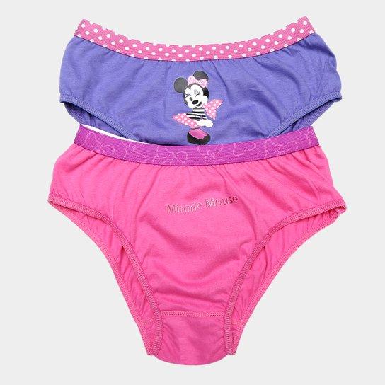 2bb4e932593850 Kit Calcinha Infantil Lupo Minnie 2 Peças - Rosa e Violeta