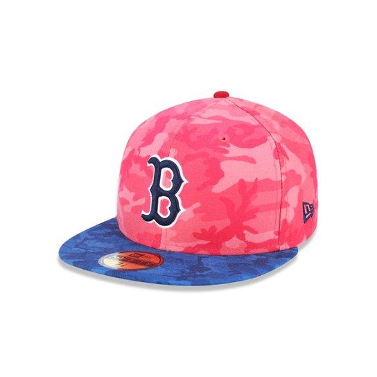 Boné 5950 Boston Red Sox MLB Aba Reta New Era - Vermelho e Azul ... 71622414310