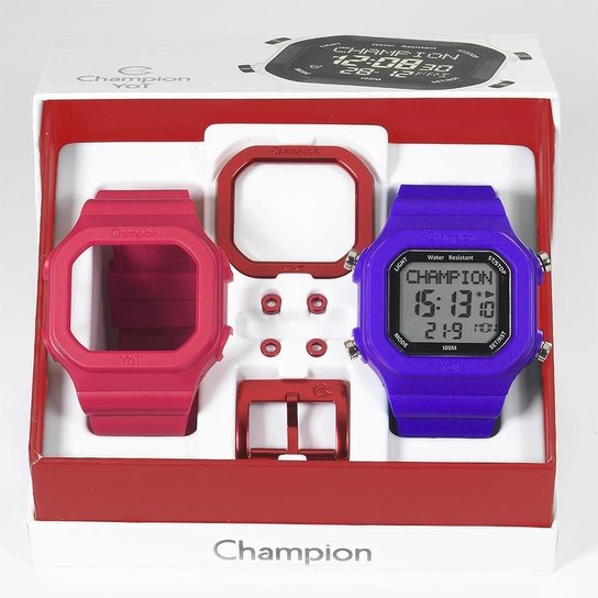 35205a3c4c8 Relógio Unissex Champion Digital Cp40180x Troca Pulseira - Vermelho+Azul