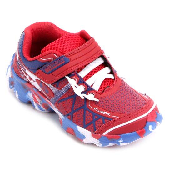 Tênis Infantil No Stress Running Velcro - Vermelho e Azul - Compre ... a2775ea0d6ecd