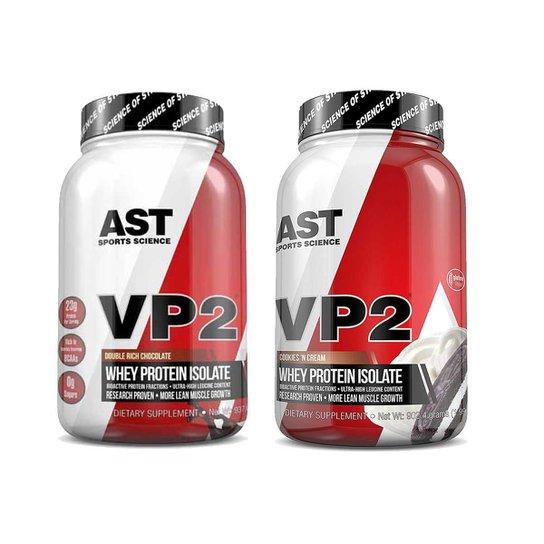 ada664133 Kit 2x VP2 Whey Protein 100% Hidrolisado e Isolado AST Sports Science -