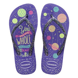 Chinelo Havaianas Kids Slim Fashion Brilho Feminino