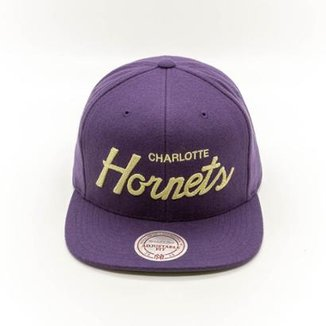 Boné Mitchell   Ness Charlotte Hornets NBA Charlotte Hornets Snapback e435f485789