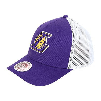 Boné Mitchell & Ness NBA Los Angeles Lakers Aba Curva Mesh Flex Trucker...