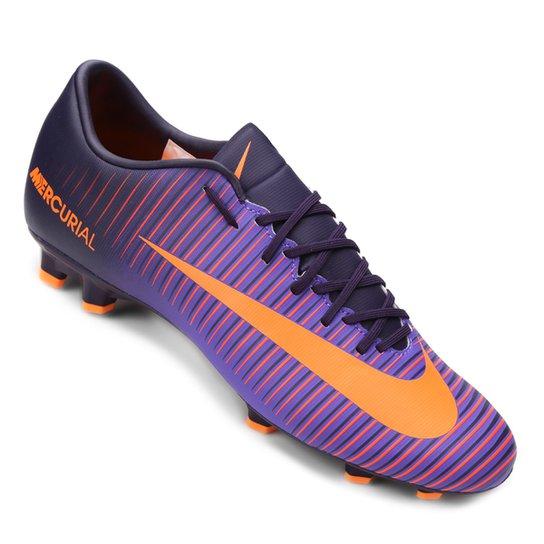 Chuteira Campo Nike Mercurial Victory 6 FG - Roxo e Laranja - Compre ... 012cab0591f4b