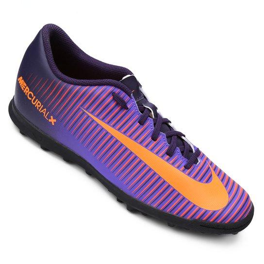 Chuteira Society Nike Mercurial Vortex 3 TF Masculina - Roxo ... 73c70a9d3a8b0