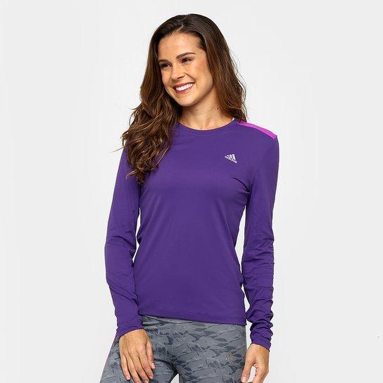 Camiseta Adidas 3S Com Proteção UV Manga Longa Feminina - Compre ... 7463ba343fc91
