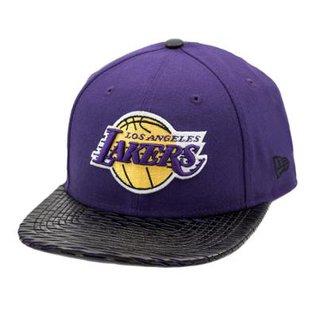 Boné New Era Snapback Original Fit Los Angeles Lakers Leather Rip - NBA ac1d3a70709