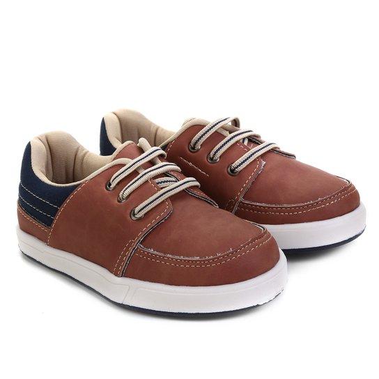 505b2ca98 Sapato Infantil Pimpolho Básico Masculino - Marrom e Azul - Compre ...