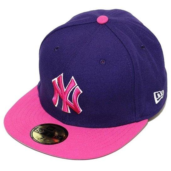 Boné New Era Aba Reta Fechado MLB New York Yankees 2Seasonal - Roxo ... 0fb94451847