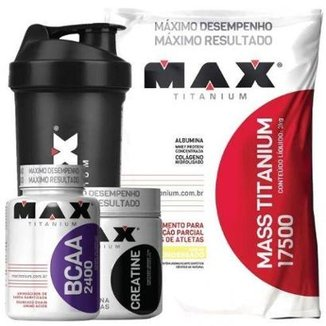 Kit Mass Titanium 3Kg Chocolate + Bcaa 100 Caps + Creatina 150g + Coque  Max Titanium