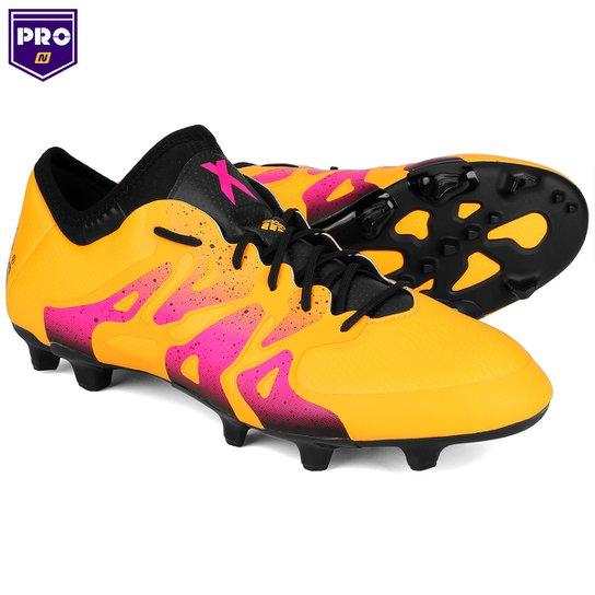 5867c1ccc2 Chuteira Adidas X 15.1 FG Campo - Amarelo+Rosa