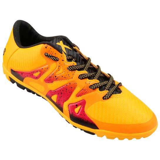 Chuteira Society Adidas X 15.3 TF Masculina - Amarelo+Vermelho b21489feb6ef2