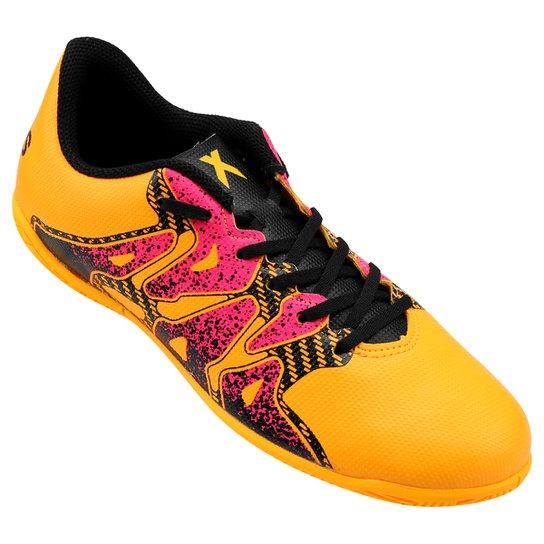 Chuteira Futsal Juvenil Adidas X 15.4 IN - Amarelo e Rosa - Compre ... 5f60a1bf41297