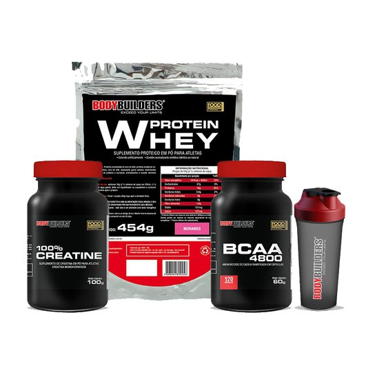 130626a3d Kit Whey Protein 454 G + BCAA 4800 120 Cáps + 100% Creatine 100 G + ...