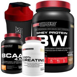 09bc1e78d Kit Whey Protein 3W 900g + BCAA 1800 120 caps + Creatine 100g +  Coqueteleira -