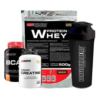 Kit Whey Protein 500G + Bcaa 800 120 Tabletes + 100% Creatine 100G