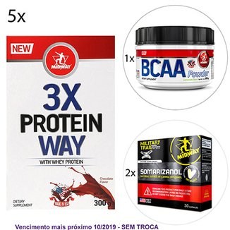 908ee57b8 Kit Midway 5x Way Protein 3X Midway + BCAA Powder USA Hidrossolúvel + 2x  Somarizanol Military