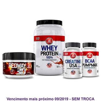 0cc76eaa1 Kit Auxílio Ganho de Massa Whey Protein + Bcaa Pumpmax + Creatina e  Pré-Treino