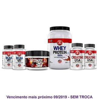 ff0b4c8c2 Kit Auxílio Ganho de Massa Whey Protein + 2X Bcaa Vit + 2x Creatina e Pré