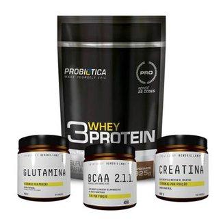 4cf803a07 Kit Creatina + Glutamina + Bcaa + Whey 3W (825G) Probiótica
