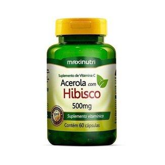 Acerola c/ Hibisco 500mg 60 cápsulas - MaxiNutri