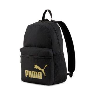 ACESSORIOSPUMA PHASE BACKPACK Puma BlackGolden logo OSFA UNICO PRETO/DOURADO