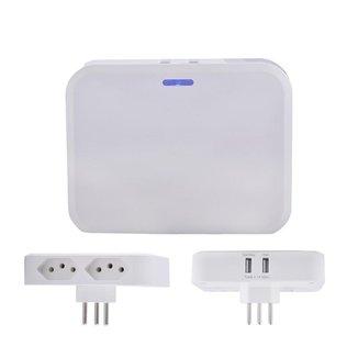 Adaptador Multiplug 2 saídas AC e Carregador DC 2 portas USB