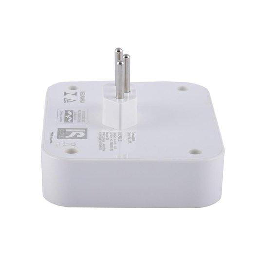 Adaptador Multiplug 2 saídas AC e Carregador DC 2 portas USB - Branco