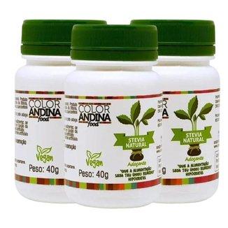 Adoçante Em Pó 100% Natural 3x Stévia 40g - Color Andina