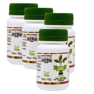 Adoçante Em Pó 100% Natural 4x Stévia 40g - Color Andina
