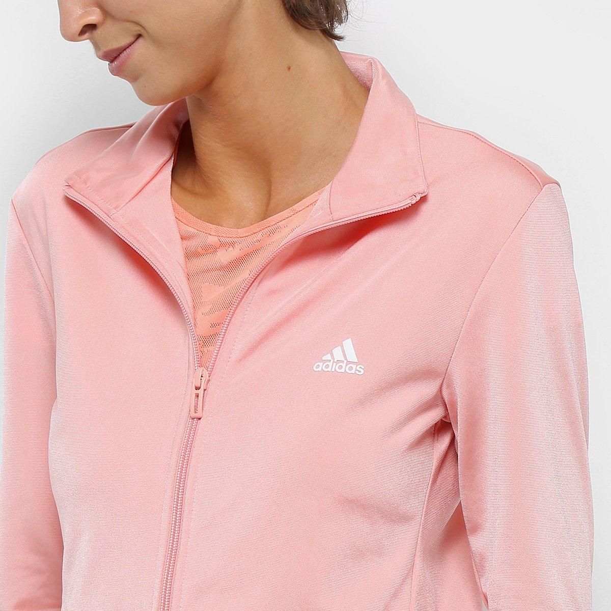 Agasalho Adidas Ess Ep Feminino - Rosa e Preto - Compre Agora  84977282d14f1