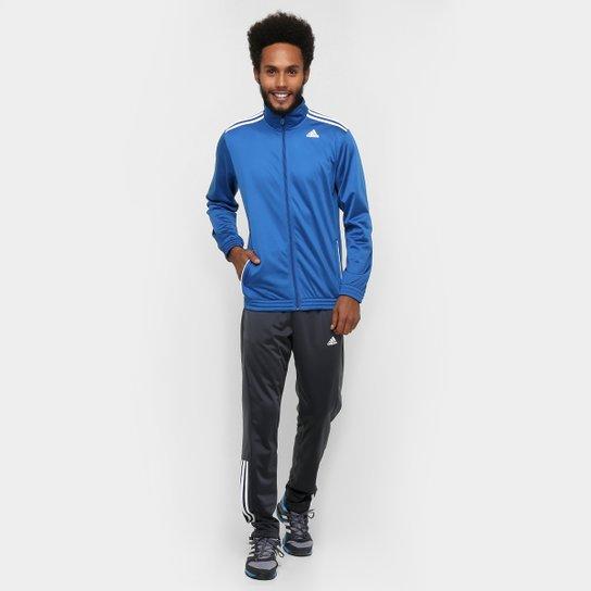 Agasalho Adidas Knit Masculina - Azul+Chumbo