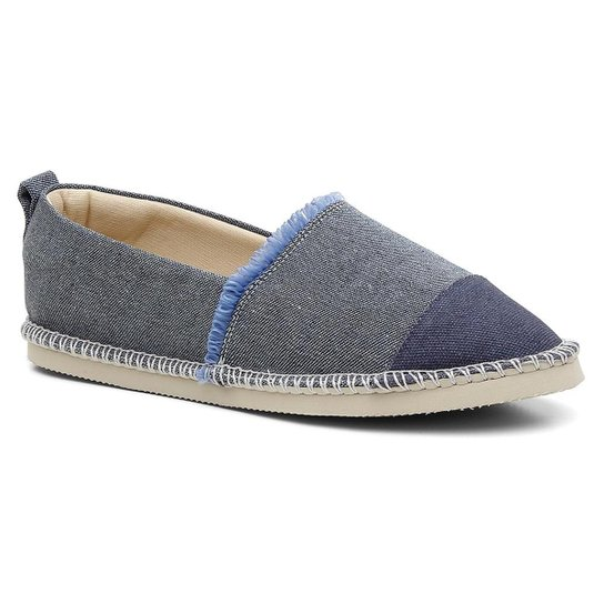 Alpargata Jeans Feminina Cano Baixo Lisa Conforto - Azul Claro