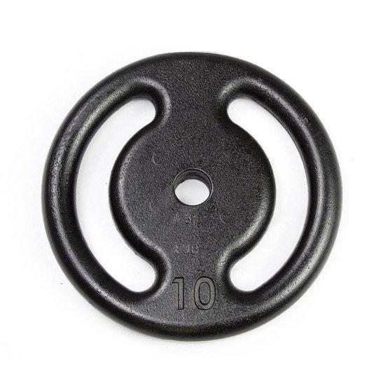 Anilha 10kg Vazada De Ferro - Preto