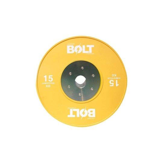 Anilha LPO Lightning Bolt 15Kg - Preto+Amarelo